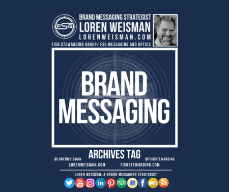 An archives tag graphic with the center title in white that reads brand messaging surrounded by an image of Loren Weisman, the FSG logo, some social edia icons and additional text.