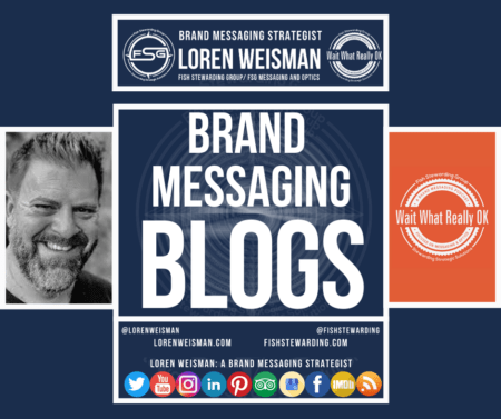 A graphic with an image of Loren Weisman, the FSG logo, the Wait What Really OK logo in both orange and white as well as social media icons.