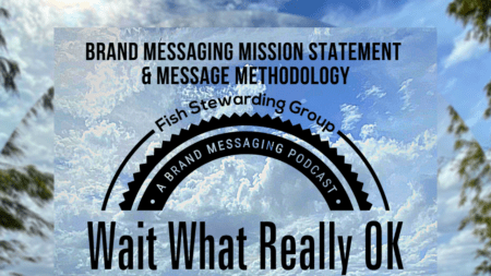 Sky and clouds with the top of the wait what really ok logo and the title brand messaging mission statement and messaging methodology.