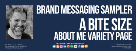 A header image with the title that reads brand messaging sampler as well as some other text, an image of Loren Weisman, and a series of social media icons and links.
