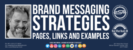 "A header graphic in blue with the title that reads ""brand messaging strategies"" surrounded by an image of Loren Weisman."