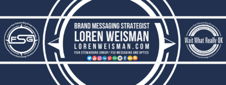 A blue background with the FSG logo encompassing text that reads brand messaging strategist Loren Weisman.