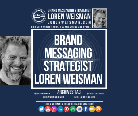 An heavy text image and picture of brand messaging strategist Loren Weisman with links to his website and social media icons.