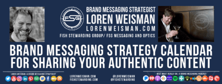 A footer image with an image of loren weisman in black and white and another with Loren holding a drink and a text title that reads brand messaging strategy calendar as well as text links and social media icons.