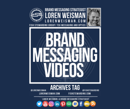 A featured image graphic with text that reads brand messaging videos archives tag and social media icons as well as text and a picture of Loren Weisman and the FSG logo.