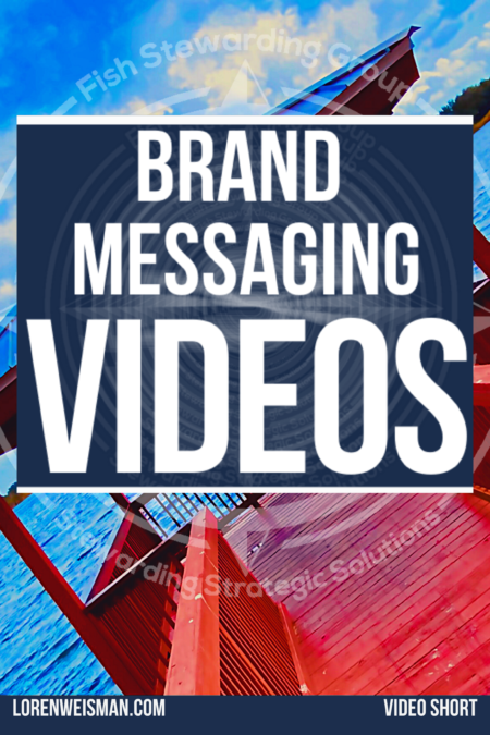 Centered text in a blue back ground that reads brand messaging videos with a dock shown sideways on a lake.
