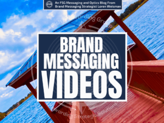 Text with the title that reads brand messaging videos, and a lake and a dock in the background