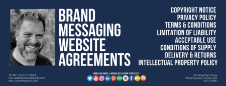 A footer graphic in blue with the title brand messaging website agreements and a series of social media icons and image of Loren Weisman.