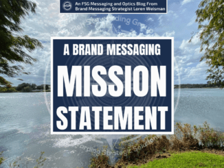 A lake with clouds in the background and a title that reads brand messaging mission