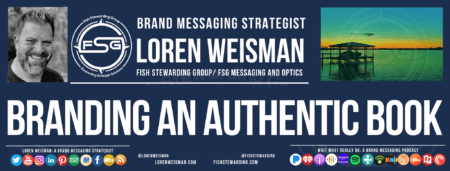 a footer graphic with a picture of Loren Weisman as well as a green background image of a sunset over a lake with Loren's buisness information and the title that reads branding an authentic book