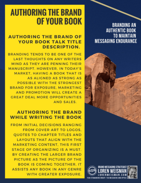 part of a rocky stone that is tan with the skyline and text for the branding an authentic book talk title with a yellow back ground