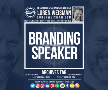 An archives tag graphic with the title in the center that reads branding speaker, surrounded by a few images of Loren Weisman, and FSG logo and some social media icons.