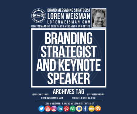 An archives tag with the title that reads branding strategist and keynote speaker, with an FSG logo, an image of Loren Weisman and some social media icons.