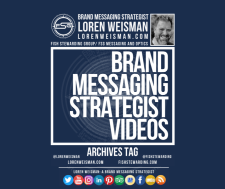 An archives tag graphic with the center title that reads brand messaging strategist videos and has a picture of Loren Weisman as well as social meida icons and the FSG logo on it.