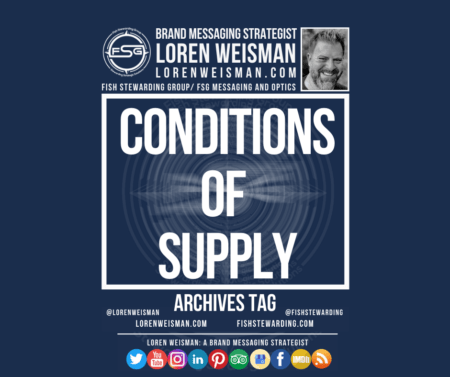 An Archives tag graphic with the title in the middle that reads conditions of supply and has an image of Loren Weisman, the FSG logo as well as a series of social media icons.