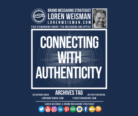 A graphic with title reading connecting with authenticity with an image of Loren Weisman and social media icons.