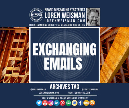 An archives tag graphic with wood beams in the background, an image of Loren Weisman and the title Exchanging emails.