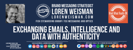 A header image of in blue with an image of Loren Weisman, the Wait What Really OK logo as well as the title that reads Exchanging emails, intelligence and data with authenticity.