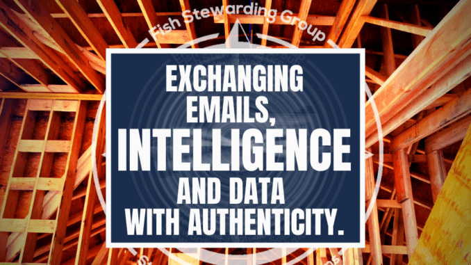 A series of wood beams in the background from a ceiling with the title that reads Exchanging emails, intelligence and data with authenticity.