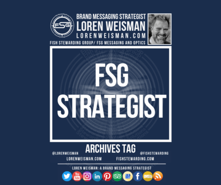 An archives tag graphic with the title in the middle that reads FSG strategist and an image of Loren Weisman, the FSG logo as well as some text links and a series of social media icons on the bottom of the image.