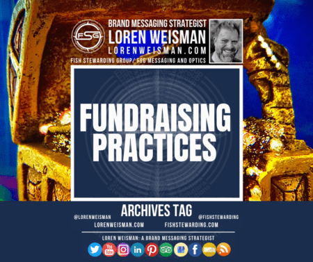 An archives tag graphic with the title that reads fundraising practices with the background of a treasure chest in gold and social icons.