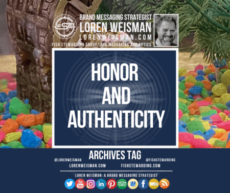 An archives tag graphic with a title that reads honor and authenticity with a fish tank background and an image of Loren Weisman and the FSG logo as well as social media icons on the bottom.