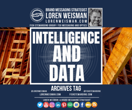 An archives tag graphic with the title that reads intelligence and data over a background of wood beams and an image of Loren Weisman as well as some social media icons.