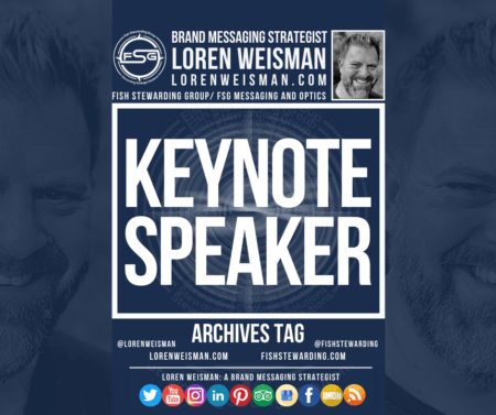 "An archives tag graphic with a title in the center that reads ""Keynote Speaker"" and is surrounded by a few images of Loren Weisman as well as some social media icons and the FSG logo and other text."