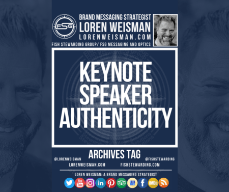 "An archives tag graphic with the title that reads ""keynote speaker authenticity"" and surrounded by an image of Loren Weisman and the FSG logo."