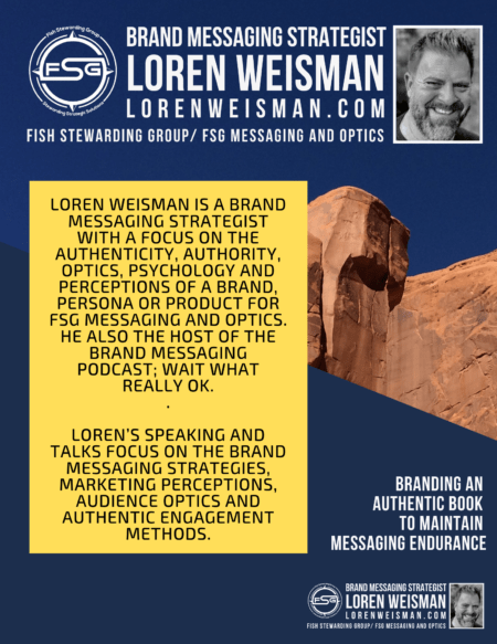 branding an authentic book speaker introduction in yellow, with the rock formation in the background in blue and a picture of loren weisman