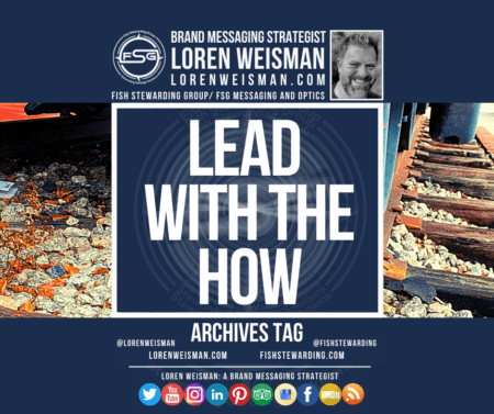 An archivesw tag graphic with the title that reads Lead with the how surrounded by an image with a railroad track as well as an image of Loren Weisman and the FSG logo and some social media icons.