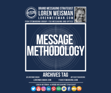 an archives tag graphic with the title that reads message methodology as well as an image of Loren Weisman, the FSG logo, some text links and social media icons.