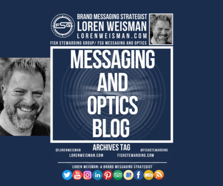 a blue archives tag graphic with an image of Loren Weisman as well as primary text that reads Messaging and Optics Blog. it also has a link to the websie as well as social media icons.