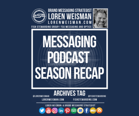 Archives graphic with the title that reads messaging podcast recap. This image also shows a picture of Loren Weisman, the FSG logo and a series of social media icons and text links.