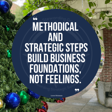 An image of downtown Winter Garden, Florida with a Christmas Tree on the left and a small seating area on the right in the down town area with a blue circle in the middle and the quote that reads methodical and strategic steps build business foundations, not feelings.