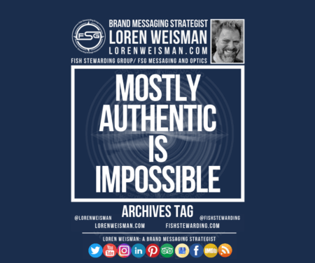 An archives tag graphic that has text in white in the center that reads mostly authentic is impossible and is surrounded by an FSG logo image, an image of Loren Weisman and some social media icons.