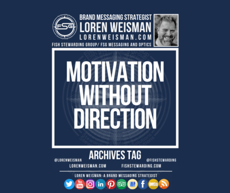 The Motivation without direction archives tag graphic that includes an image of Loren Weisman as well as the FSG logo and some social media icons on the bottom of the page.