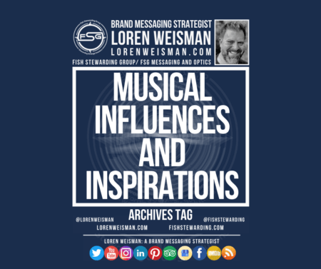 Header image with the title musical influences and inspirations with a picture of loren weisman and a series of social media icons.