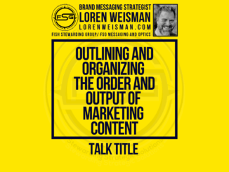 A featured image with a yellow background and the title in the middle that reads: Outlining and organizing the order and output of marketing content talk title, with an image of Loren Weisman and the FSG logo.