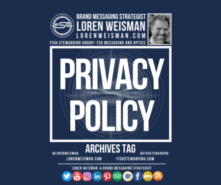 An archives graphic with the lead title that reads privacy policy and has the image of Loren Weisman as well as the FSG logo.