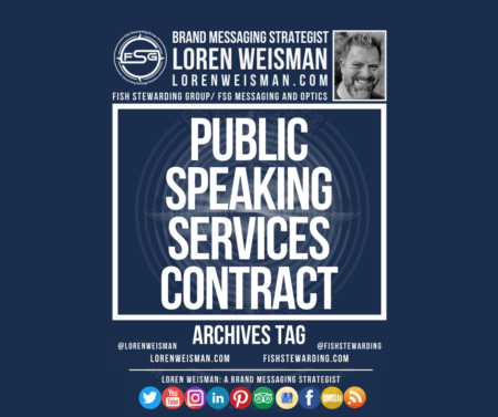 An archives tag graphic with a blue background with the centered text that reads public speaking services contract as well as an image of Loren Weisman, the FSG logo and some social media icons.