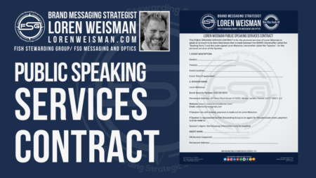 A graphic with the title that reads Public speaking services contract and an image of Loren Weisman and an example picture of a page from the contract.