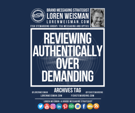 A featured image holder with a picture of Loren Weisman, the FSG logo, social media icons and bold text that reads Reviewing authentically over demanding.