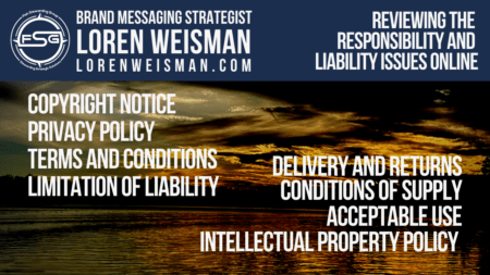 A sunset background with a series of documents to consider to have on your website with the FSG logo and an image of Loren Weisman on the top.