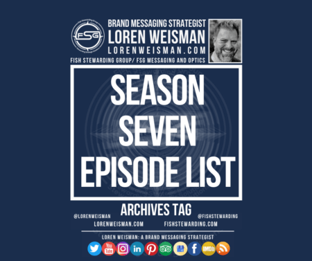 An archives tag with a large title that reads season seven episode list as well as an image of Loren Weisman, the FSG logo, some text links and social media icons.