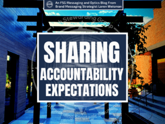 An image with the title sharing accountability expectations in the center placed around a stone tile walk way and in between two buildings.