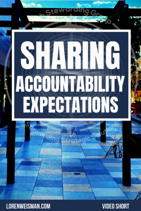A rectangular image with the title that reads sharing accountability expectations on top of a stone tile walk way.