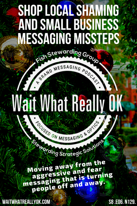 A poster graphic with the text on top that reads Shop Local Shaming and small business messaging missteps. In front of a Christmas Tree with colorful balls on it.