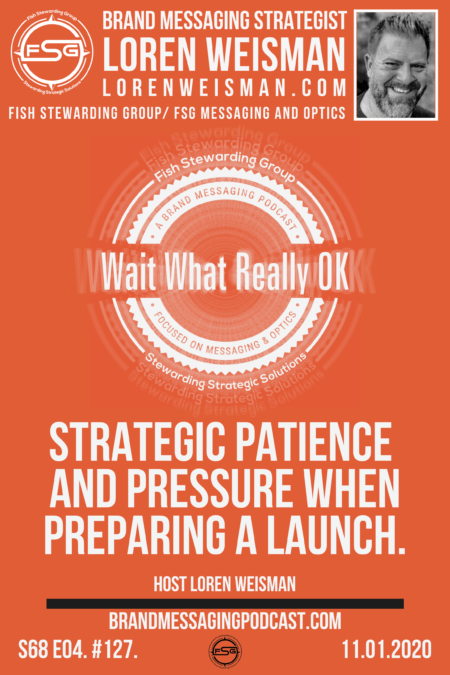 An orange graphic with the wait what really ok logo as well as the title of the episode: Strategic Patience and Pressure when preparing a launch.
