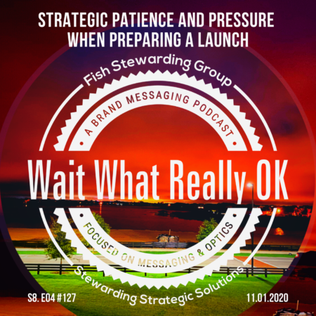 Strategic patience and pressure when preparing a launch podcast episode cover. The rest of the image behind it is a sunrise placed in a circle showing a grassy field in the front with a fence and a lake in the back.